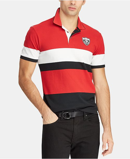 Polo Ralph Lauren Men's P-Wing Striped Mesh Polo, Created for Macy's