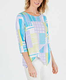 Alfred Dunner Petite Butterfly Effect Printed Crossover-Hem Top
