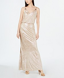 Allover Metallic Blouson Gown