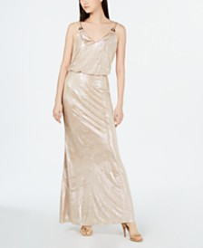 Calvin Klein Allover Metallic Blouson Gown