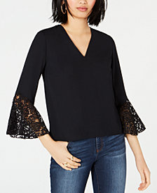 Bar III Lace-Trim Bell-Sleeve Top, Created for Macy's