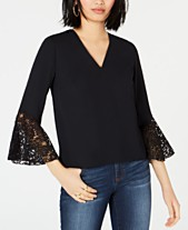 2890f957184314 Bar III Lace-Trim Bell-Sleeve Top