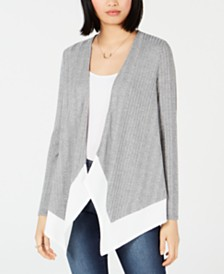 Bar III Colorblocked Open-Front Cardigan, Created for Macy's