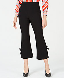 Bar III Lace-Up Cropped Flared Leg Pants, Created for Macy's