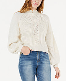 American Rag Juniors' Mixed-Stitch Balloon-Sleeve Sweater, Created for Macy's