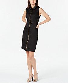 Calvin Klein Zip-Front Sleeveless Shirtdress