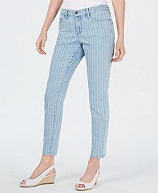 Petite Tummy-Control Pinstriped Skinny Jeans, Created for Macy's