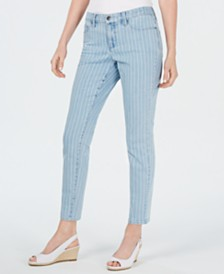 Charter Club Petite Tummy-Control Pinstriped Skinny Jeans, Created for Macy's