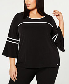 Calvin Klein Plus Size Piped Flared-Sleeve Top