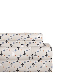 Pointehaven 200 Thread Count Cotton Percale Printed Sheet Set