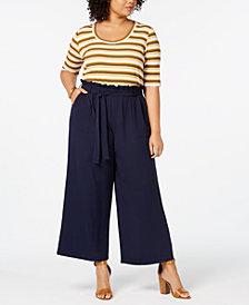 Monteau Trendy Plus Size Belted Wide-Leg Jumpsuit