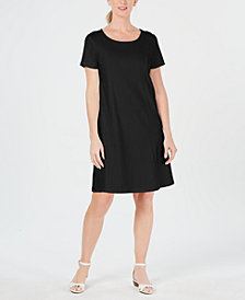 Karen Scott Petite Cotton Seam-Detail Dress, Created for Macy's