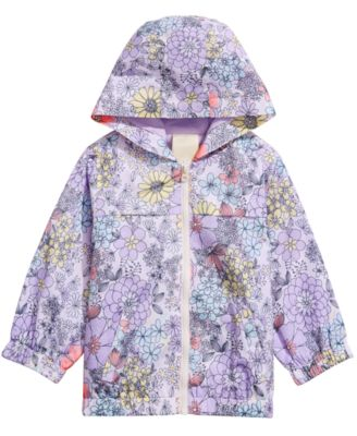 Baby Girls Floral-Print Hooded Windbreaker Jacket, Created for Macy's