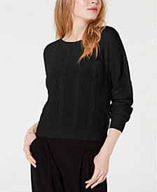 Maison Jules Cable-Knit Bow-Back Sweater, Created for Macy's