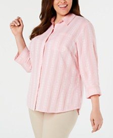 Karen Scott Plus Size Printed Cotton Button-Front Shirt, Created for Macy's