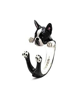 Boston Terrier Hug Ring in Sterling Silver and Enamel