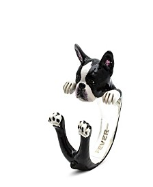 Boston Terrier Hug Ring in Sterling Silver and Enamel