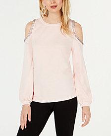 I.N.C. Embellished Cold-Shoulder Sweatshirt, Created for Macy's
