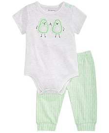 First Impressions Baby Boys & Girls Avocado Bodysuit & Herringbone-Print Jogger Pants, Created for Macy's