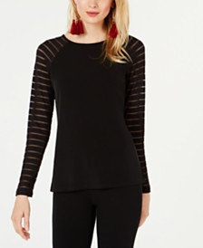 I.N.C. Long-Illusion-Sleeve Top, Created for Macy's