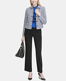 Calvin Klein Tweed Jacket, Ruffled Top & Trousers