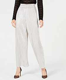 I.N.C. Metallic Pleated Wide-Leg Pants, Created for Macy's