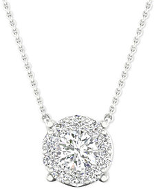 "Diamond Halo Pendant Necklace (1/2 ct. t.w.) in 14k White Gold, 16"" + 2"" extender"