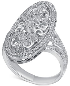 Diamond (1/4 ct. t.w.) Oval Openwork Ring in Sterling Silver