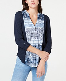 Cotton Print-Front Roll-Tab Shirt