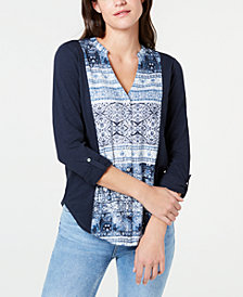 Lucky Brand Cotton Print-Front Roll-Tab Shirt