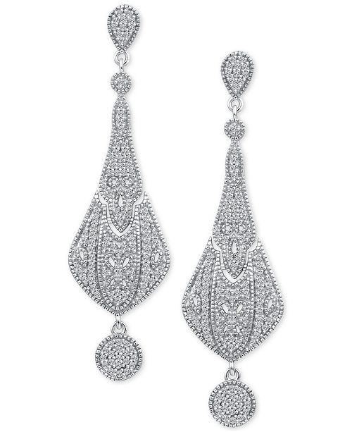 Macy's Diamond Fancy Drop Earrings (3/8 ct. t.w.) in Sterling Silver