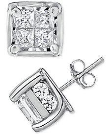 Diamond (1/2 ct. t.w.) Square-Set Stud Earrings in 14k White Gold