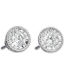 Diamond Milgrain Stud Earrings (3/4 ct. t.w.) in 14k White Gold
