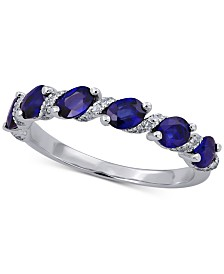 Sapphire (1-1/4 ct. t.w.) & Diamond (1/8 ct. t.w.) Ring in 14k White Gold(Also Available in Ruby and Emerald)