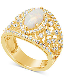 Opal (1 ct. t.w.) & Diamond (1 ct. t.w.) Openwork Ring in 14k Gold