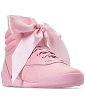 e507038b543a12 Reebok Little Girls  Freestyle High Top Satin Bow Casual Sneakers from  Finish Line