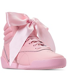 Reebok Little Girls' Freestyle High Top Satin Bow Casual Sneakers from Finish Line