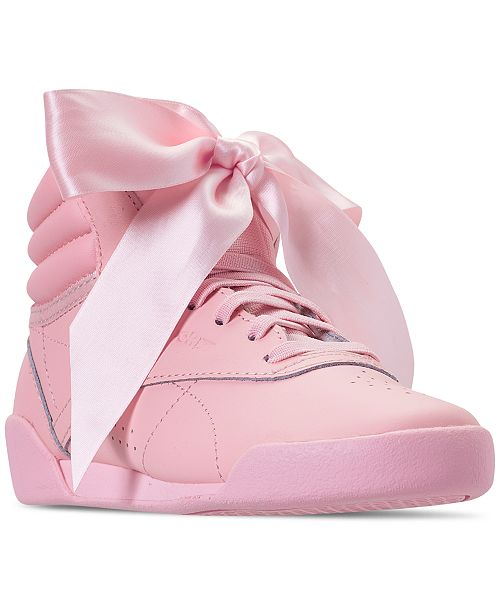 Reebok Little Girls' Freestyle High Top Satin Bow Casual