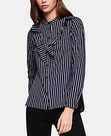 BCBGeneration Cotton Striped Ruffled-Front Shirt