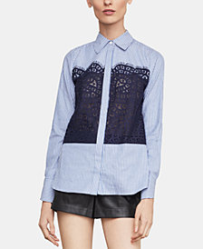 BCBGMAXAZRIA Lace-Trim Shirt