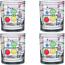 Frank Lloyd Wright Coonley Playhouse 14oz Double Old Fashioned Glass, Set of 4