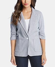 Karen Kane Pinstripe One-Button Ruched-Sleeve Blazer