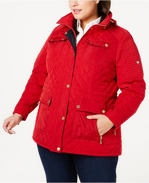 Michael Kors Plus Size Quilted Removable Hood Coat