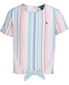 Tommy Hilfiger Big Girls Cotton Rainbow-Stripe Tie-Front Top