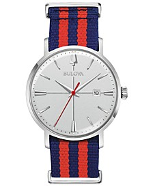 Men's Aerojet Blue & Red Polyester Strap Watch 39mm
