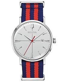 Bulova Men's Aerojet Blue & Red Polyester Strap Watch 39mm