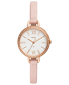 Fossil Women's Annette Blush Leather Strap Watch 30mm
