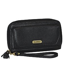 Synthetic Leather with Goldtone Logo Tech Wallet