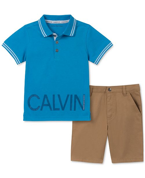 Calvin Klein Little Boys 2-Pc. Polo & Shorts Set