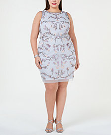 Adrianna Papell Plus Size Floral Embellished Sheath Dress